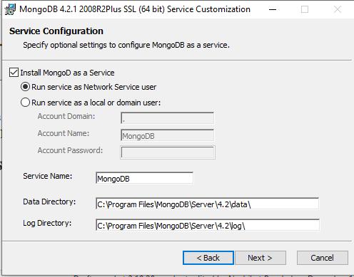 step 2 mongodb service configuration