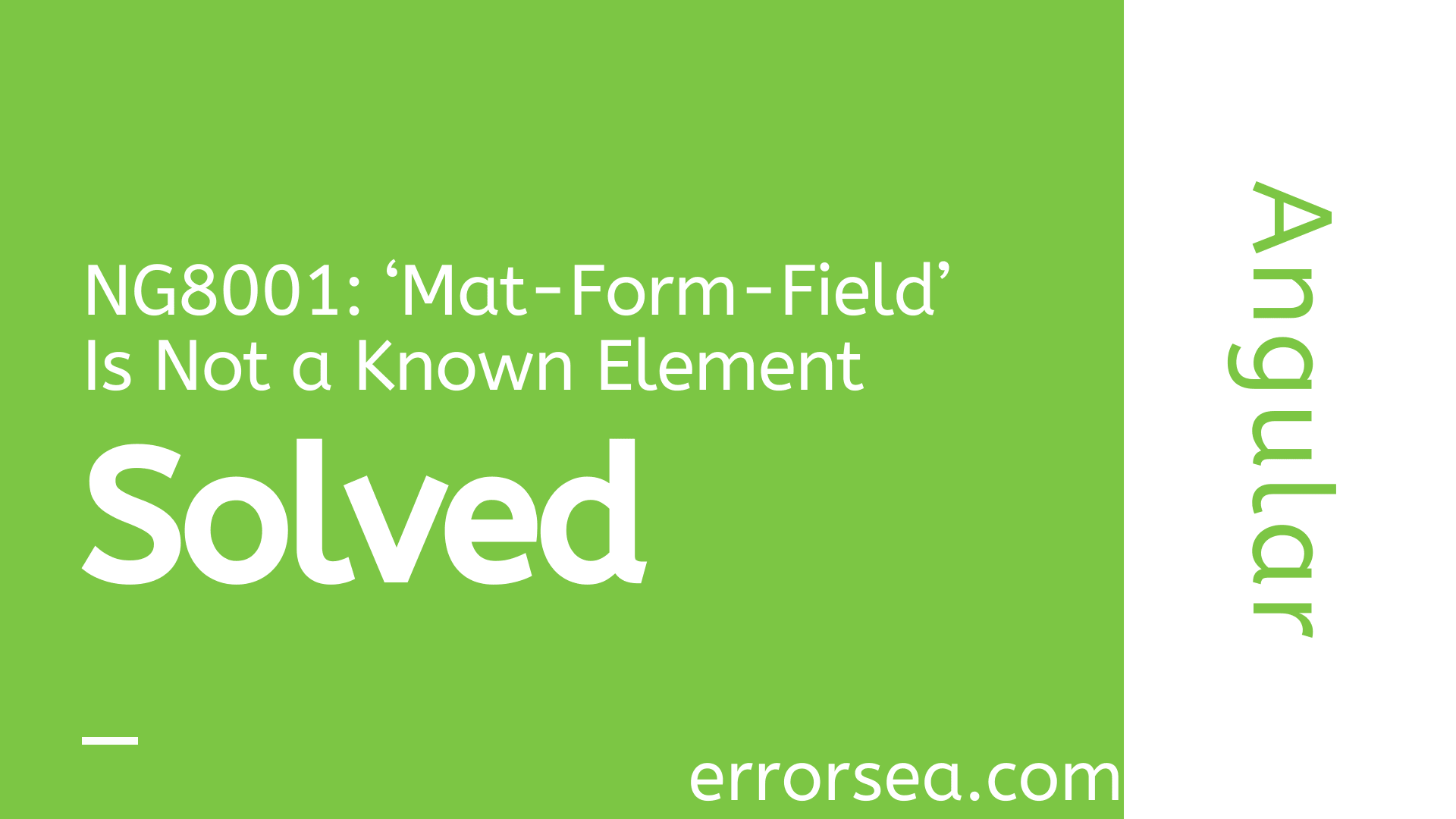 [Solved] Error NG8001: 'Mat-Form-Field' Is Not a Known Element in Angular CLI